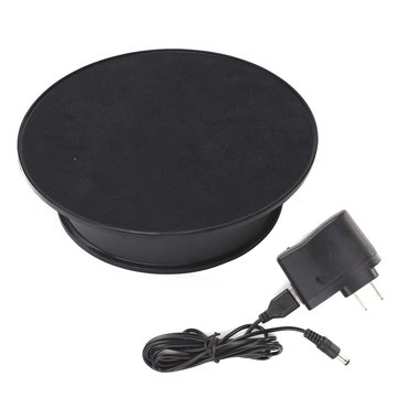 220V 20CM Black Velvet Top Rotary Display Stand Electric Rotating Display Turntable With Adapter