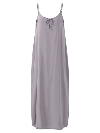 Sexy Women V-Neck Spaghetti Strap Maxi Dress With Pockets