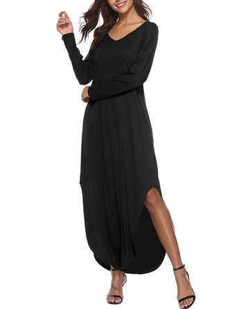 Women Loose Long Sleeve V-Neck Split Hem Dress with Pockets
