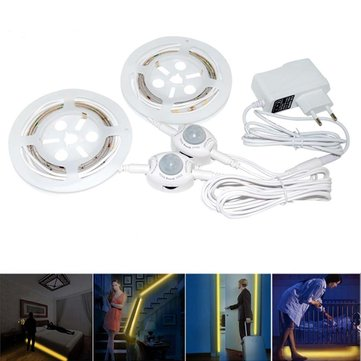 DC12V 2PCS 1.5M SMD3528 Warm White Waterproof PIR Motion Sensor LED Strip Light + EU Plug