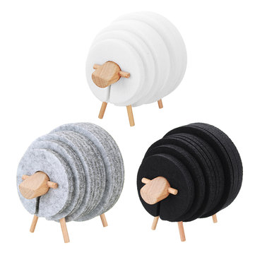 Sheep Shape Anti Slip Drink Coasters Insulated Round Felt Cup Mats Tableware Coaster