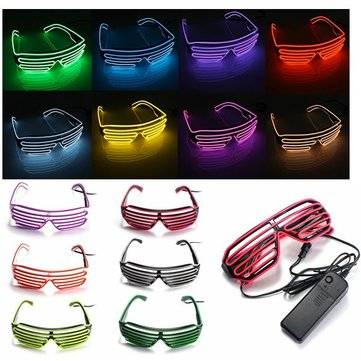 EL Wire Neon LED Light Shutter Shaped Fashionable Glasses For Costume Party