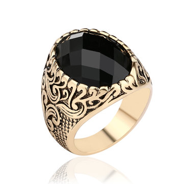 Vintage Black Gem Exquisite Carved Totem Geometry Men Ring