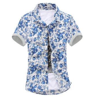 Summer Mens Casual Slim Fit Short Sleeve Shirts Fashion Flower Printed Shirt