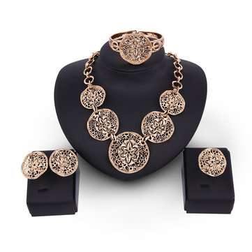 Hollow Flower Statement Alloy Necklace Earrings Jewelry Set