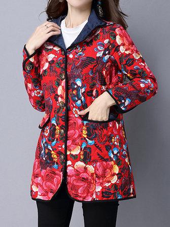 Этническая флористическая печать с длинным рукавом Толстая Женское Пальто