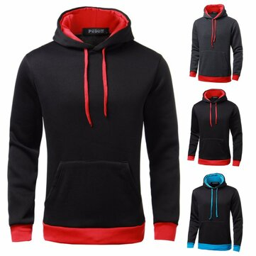 Mens Color Splicing Hoodies Solid Simple Hooded Sweatshirt