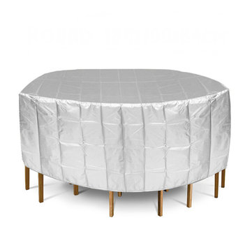 188x84cm Silver Furniture Waterproof Cover Round Outdoor Garden Table Chair Dust-proof Cover Cap