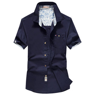 Mens Summer Casual Cotton Flax Breathable Wicking Short Sleeve Pocket Casual Shirts