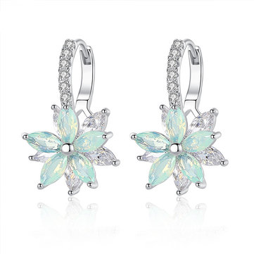 Fashion Flower Zirconia Silver Women's Earrings
