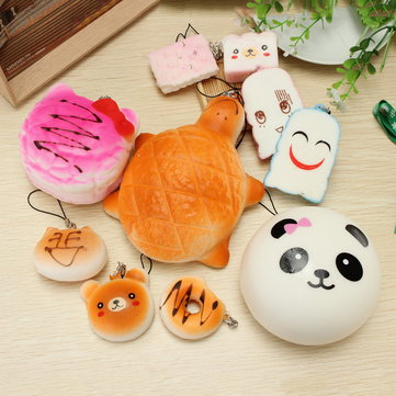 10PCS Squishy Jumbo Large Mini Random Bun Toast Cake Biscuit Collection Phone Straps Gift Decor Toy
