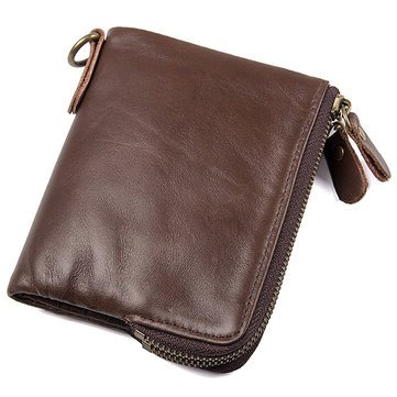 Men RFID Antimagnetic Genuine Leather Double Zipper Pocket Wallet