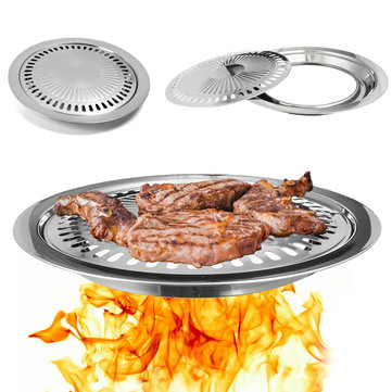 Stainless Steel Barbecue Pan Grill Stove Plate Cooking BBQ Iron Smokeless Non-Stick