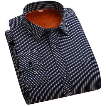 10 Colors Winter Thick Mens Striped Dress Shirts Casual Polyester Cotton Blended Large Size