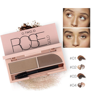 O.TWO.O 2 In 1 Eyebrow Powder Waterproof Makeup Eye Liner Gel Lasting Brown Black