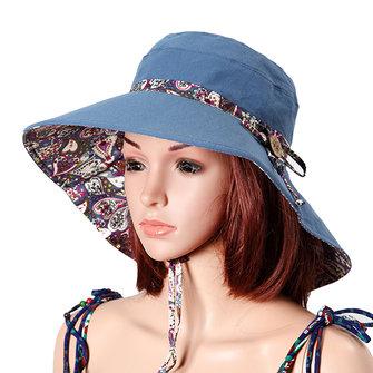 Women Sunscreen Bucket Hat Casual Anti-UV Wide Brim Double Sided Wear Beach  Hat 4d8b2931912