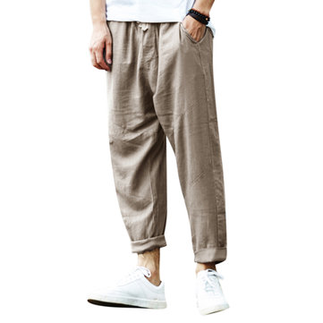 Men's Cotton Flax S-3XL Drawstring Ankle Length Pants