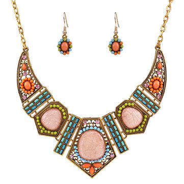 Bohemian Rhinestone Bib Necklace Multicolor Flower Earrings Geometric Beads for Women