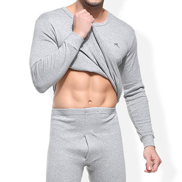 Mens Fall Winter Cotton Soft Warm Thermal Underwear Sleepwear Long Johns Set