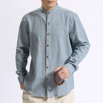 TWO-SIDED Vintage Casual Loose Band Collar Cotton Shirts