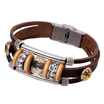 Retro Women Genuine Leather Bangle Rhinestone Bead Bracelet