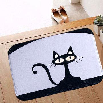 40x60cm Coral Fleece Black Cat Pattern Non-slip Floor Mat Bathroom Kitchen Bedroom Doormat Carpet