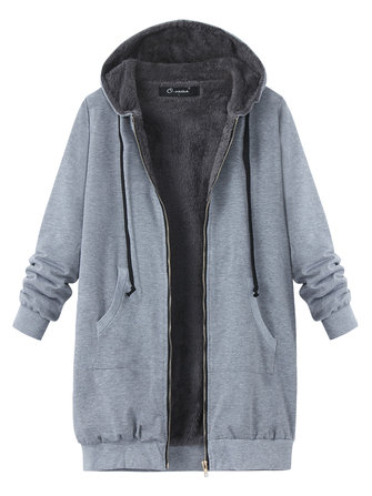 O-NEWE L-4XL Casual Women Zipper Fleece Thick Hooded Coat