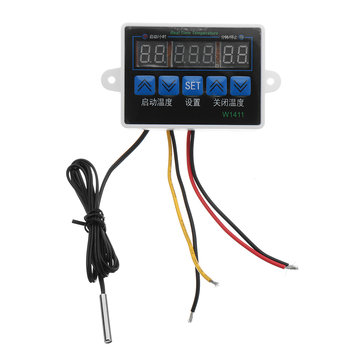 W1411 12V 24V 220V 10A LED Digital Temperature Controller Thermostat Control Switch Sensor for Greenhouses Aquatic Animal Husbandry