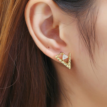 JASSY® Luxury Women Gemstone Earring 18K Gold Plated Asymmetric Triangle Ear Stud Unique Gift