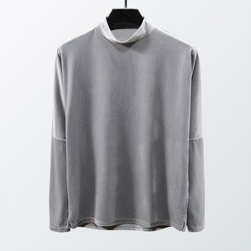 Mens Casual High Collar Autumn Overhead T-shirts
