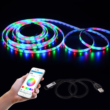 LUSTREON 45CM Max 45W USB Mini 4Pins LED RGB Bluetooth Strip Light APP Controller DC5V
