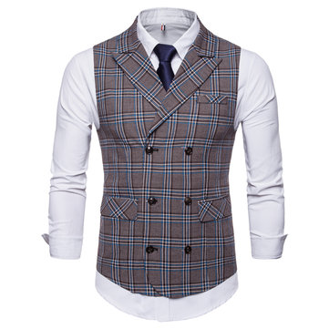 Gentleman Fashion Business Plaid Printing Waistcoat Suit Ves