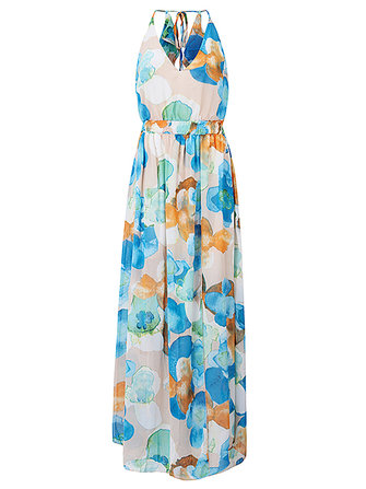 Gracila Women Chiffon V-Neck Spaghetti Strap Backless Floral Printed Maxi Dresses