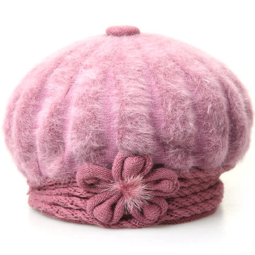 Womens Artificial Fur Beret Winter Warm Outdoor Thickening Stretchable Hats With Flower
