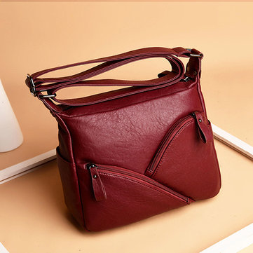 Women Retro Soft Leather Solid Crossbody Bag