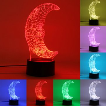 3D Smile Moon Touch Switch Night Light 7 Colors Change LED Table Lamp Birthday Gifts