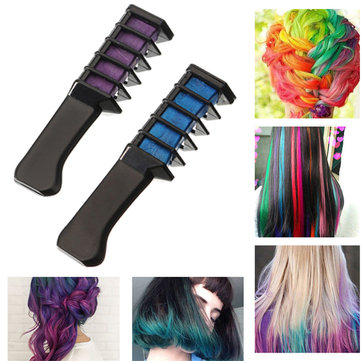 2Pcs Purple BlueTemporary Dye Color Hair Chalk Soft Pastel Cream Comb Salon Hairbrush