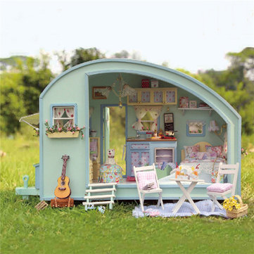 DIY Dollhouse Handcraft Miniature Project Wooden Dolls House Time Travel Caravan Gift Kit