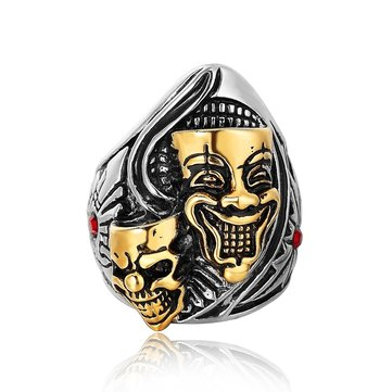 REZEX Punk Gold Buddha-ghost Ring Titanium Steel Finger Rings for Men With Case
