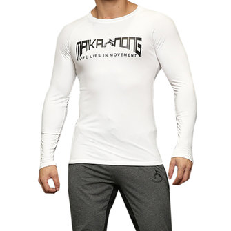 Men's Sports Tight Fitting Long Sleeved T-shirt Elastic Fitness Cashmere Thermal T-shirt