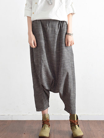 Women Loose Stripe Cotton Hemp Harem Pants