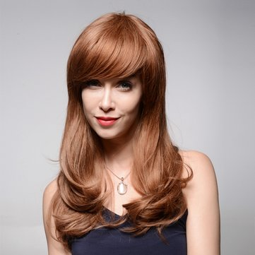 Long Elegant Human Hair Wig Side Bang Wave Virgin Remy Mono Top Capless 59cm