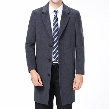 Mens Woolen Coat Mid Long Suit Collar Slim Fit Winter Jacket