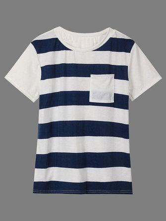 Women Casual Pocket Stripe Patchwork T-Shirt Short Sleeve