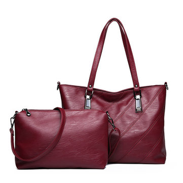 2 PCS Women Soft Faux Leather Large Capacity Tote Bag