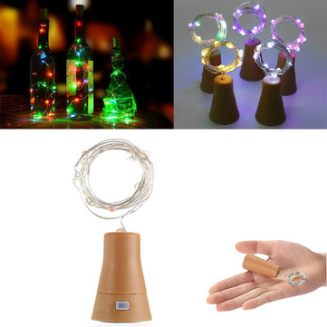Solar Powered 10LEDs Cork Shaped Silver Wire Wine Bottle Fairy String Light for Christmas Party