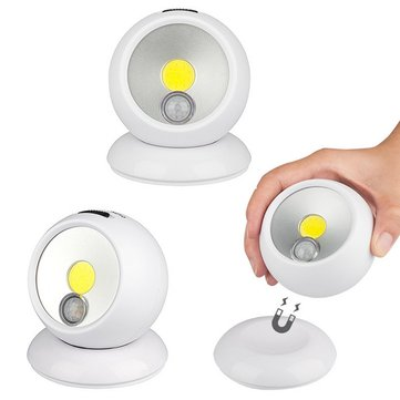 Battery Powered / USB Rechargeable 360 Degree Rotation COB PIR Motion Sensor Magnetic Night Light