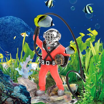 Aquarium Decor Hunter Treasure Figure Action Fish Tank Ornament Aquarium Realistic Design