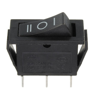 KCD3-3PD Rectangle Rocker Switch 3P3T 125C off-on II-0-I Sign Black