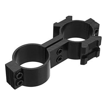 Tactical 25mm Dual Ring Barrel Mount Scope Laser Flashlight Holder 20mm Picatinny Side Rail Adapter